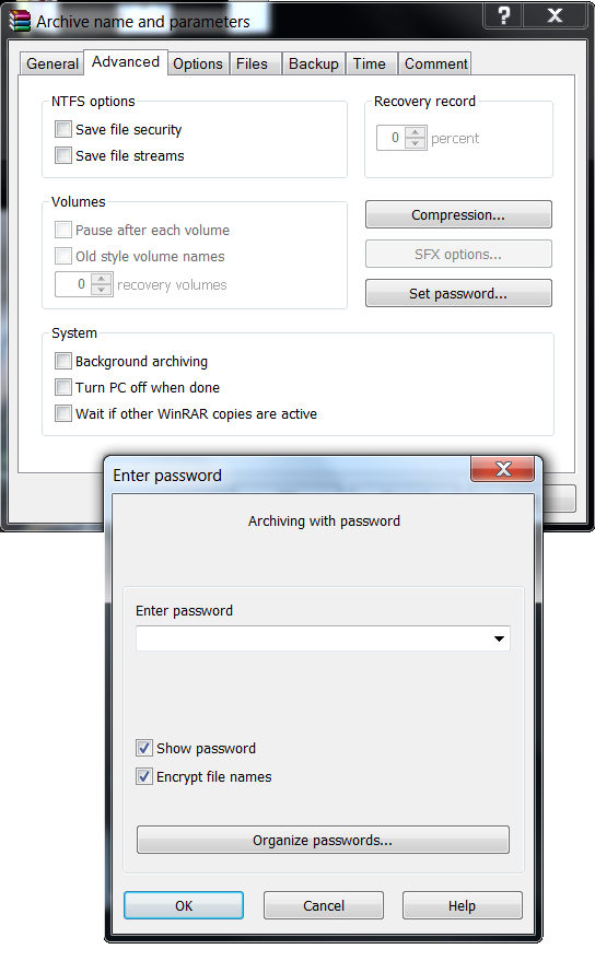 Archive name and password
